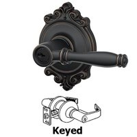 Schlage Door Hardware - Brookshire - F Series - Birmingham With Brookshire Rose Keyed Door Lever in Aged Bronze