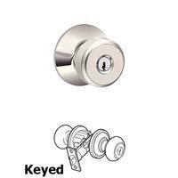 Schlage Door Hardware - Bowery - F Series - Bowery Keyed Door Knob in Bright Nickel