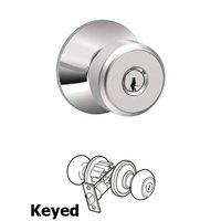 Schlage Door Hardware - Bowery - F Series - Bowery Keyed Door Knob in Bright Chrome