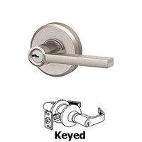 Schlage Door Hardware - Greyson - F Series - Latitude With Greyson Rose Keyed Door Lever in Satin Nickel