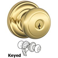 Schlage Door Hardware - Andover - F51A Series - Keyed Andover Door Knob with Andover Rose in Lifetime Bright Brass