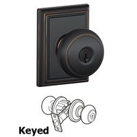 Schlage Door Hardware - Addison - F51A Series - Keyed Andover Door Knob with Addison Rose in Aged Bronze