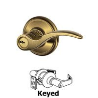 Schlage Door Hardware - St Annes Door Levers - F Series - St Annes Keyed Door Lever in Antique Brass