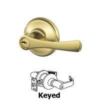Schlage Door Hardware - Avila - F Series - Avila Keyed Door Lever in Lifetime Brass