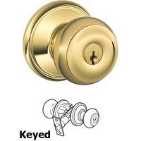 Schlage Door Hardware - Georgian Door Knobs - F51A Series - Keyed Georgian Door Knob in Lifetime Bright Brass