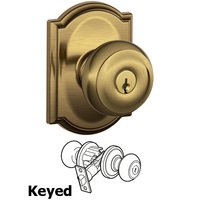 Schlage Door Hardware - Camelot - F51A Series - Keyed Georgian Door Knob with Camelot Rose in Antique Brass