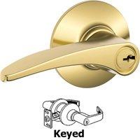 Schlage Door Hardware - Manhattan Door Levers - F51A Series - Keyed Manhattan Door Lever in Lifetime Bright Brass