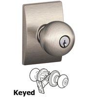Schlage Door Hardware - Century - F51A Series - Keyed Orbit Door Knob with Century Rose in Satin Nickel