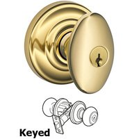 Schlage Door Hardware - Andover - F51A Series - Keyed Siena Door Knob with Andover Rose in Lifetime Bright Brass