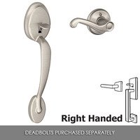 Schlage Door Hardware - Passage Entry Sets - FE285 Series - Right Handed Plymouth Exterior with Flair Lever Interior Lower Half of Front Entry Set in Satin Nickel