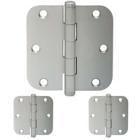 "Schlage Door Hardware - Ives Door Hinges - 3 1/2"" 5/8"" Round Door Hinge (Sold in a 3 Pack) in Satin Nickel"