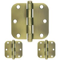 "Schlage Door Hardware - Ives Door Hinges - 3 1/2"" 1/4"" Round Door Hinge (Sold in a 3 Pack) in Antique Brass"