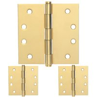 "Schlage Door Hardware - Ives Door Hinges - 4"" Square Door Hinge (Sold in a 3 Pack) in Bright Brass"