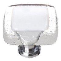 "Sietto Glass Hardware - Reflective - 1 1/4"" Knob in White with Oil Rubbed Bronze base"