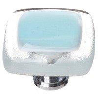 """Sietto Glass Hardware - Reflective - 1 1/4"""" Knob in Light Aqua with Oil Rubbed Bronze base"""