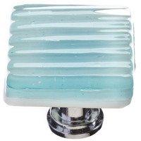 Sietto Glass Hardware - Texture - Square Reed Knob in Light Aqua