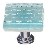 Sietto Glass Hardware - Texture - Square Honeycomb Knob in Light Aqua