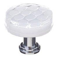 "Sietto Glass Hardware - Texture - 1 1/4"" Round Honeycomb Knob in White"