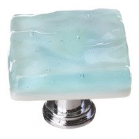 Sietto Glass Hardware - Glacier - Light Aqua Knob with Oil Rubbed Bronze base