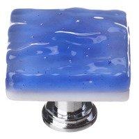 Sietto Glass Hardware - Glacier - Sky Blue Knob with Oil Rubbed Bronze base