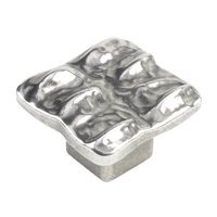 "Siro Designs - Gharial - 1 7/16"" Square Knob in Antique Pewter"