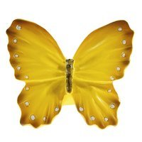Siro Designs - Butterfly - Yellow with White Dots and Stripes Butterfly Knob
