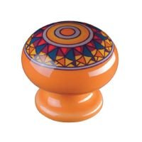 "Siro Designs - Botanico - 1 1/2"" Knob in Orange Mandela Design"