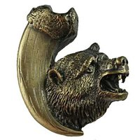 Sierra Lifestyles - Wildlife Design - Bear with Claw Knob Left in Antique Brass