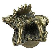Sierra Lifestyles - Wildlife Design - Standing Elk Knob Right in Antique Brass