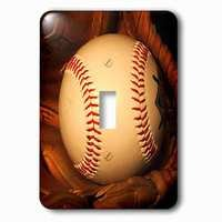Jazzy Wallplates - Sports - Single Toggle Wallplate With Baseball