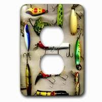 Jazzy Wallplates - Sports - Single Duplex Outlet With Old Lures Fishing