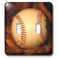 Jazzy Wallplates - Sports - Double Toggle Wallplate With Baseball