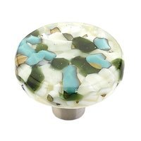 "Schaub and Company - Ice - 1 1/2"" Diameter  Round Knob in Green/Blue"