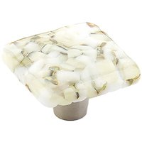 "Schaub and Company - Ice - 1 1/2"" Square Knob in White Lace"