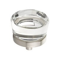 "Schaub and Company - City Lights - 1 3/8"" Diameter Glass Knob in Satin Nickel"