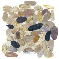 Spa Tile - Flat Pebbles - Mesh Backed Sheet in Honed Forrest
