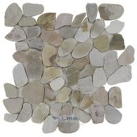 Spa Tile - Flat Pebbles - Mesh Backed Sheet in Sandy Beach