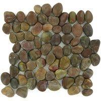 Spa Tile - Polished Pebble - Tile Mesh Backed Sheet In Polished Red Cranberry