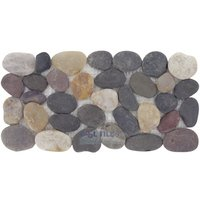 Spa Tile - Tumbled Pebble - Border Tile Mesh Backed Sheet in Rio