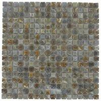 "Stellar Tile - Rustica - 9/16"" x 9/16"" Porcelain Mosaic Tile in Noce Slate"