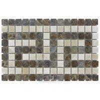 "Stellar Tile - Rustica - 12"" x 6"" Porcelain Border Tile in Noce Slate/Perla Bone"