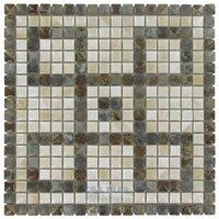 "Stellar Tile - Rustica - 5/8"" x 5/8"" Porcelain Mosaic Tile in Noce Slate/Perla Bone"