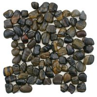 Stellar Tile - Riverstone - Pebble & Stone Mosaic Tile in Tiger Eye