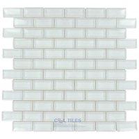 """Stellar Tile - Tessera - 1"""" x 2"""" Glass Mosaic Tile in Ice White"""