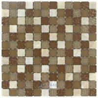"""Stellar Tile - Tessera - 1"""" x 1"""" Glass & Stone Mosaic Tile in Amber"""
