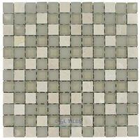 "Stellar Tile - Tessera - 1"" x 1"" Glass & Stone Mosaic Tile in Sandstone"
