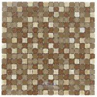"""Stellar Tile - Tessera - 5/8"""" x 5/8"""" Glass & Stone Mosaic Tile in Amber"""