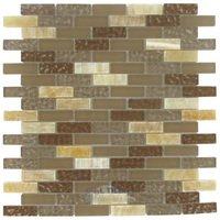 """Stellar Tile - Tessera - 5/8"""" x 2"""" Glass & Stone Mosaic Tile in Amber"""
