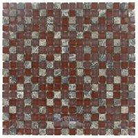 "Stellar Tile - Tessera - 5/8"" x 5/8"" Glass & Stone Mosaic Tile in Bordeaux"
