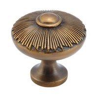 "Schaub and Company - Sunburst - Solid Brass 1 1/2"" Diameter burst Knob in Estate Dover"